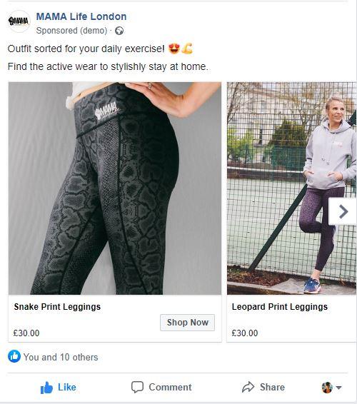 Facebook Carousel Ad.